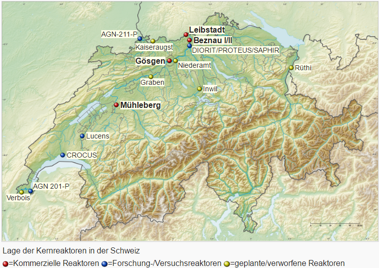 Atomkraftwerke und Reaktoren in der Schweiz